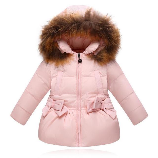 Gola de Pele De Guaxinim Real Princesa Casacos de Capuz Parka Inverno Da Menina Jaqueta Da Menina Da Criança Para Baixo Casacos Crianças Criança Quente Para Baixo casaco