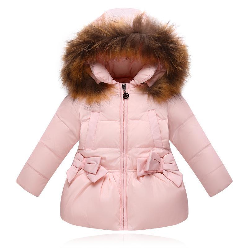 ФОТО Real Racoon Fur Collar Princess Hooded Jackets Girl Winter Parka Down Jacket Toddler Girl Down Coats Kids Child Warm Down Coat