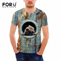 FORUDESIGNS Men 3D Animal Dog Print T Shirt Casual Short Sleeve Tee Shirt Cotton Fitness Clothing Male Crossfit Tops breathable