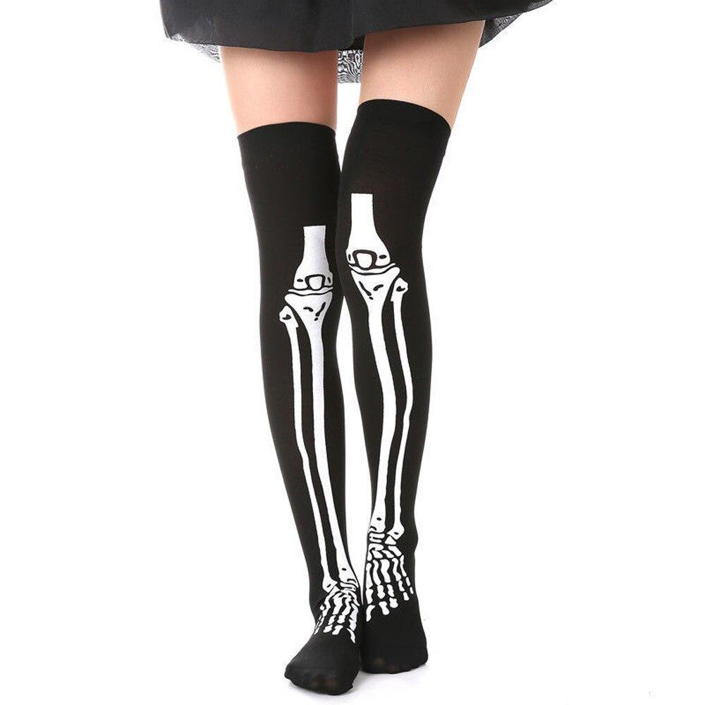 Halloween Over The Knee Thigh High Long Socks Skeleton Skull Stockings Gloves