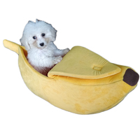 Cute Soft Banana Shape Pet Basket Dog Bed Mini House Cave for Puppy Small Medium Dog Teddy Bichon Warm Winter Beds Mat