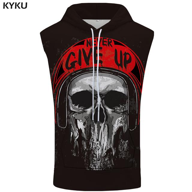 KYKU Skull Sleeveless Hoodie Punk Hooded Hip Hop Singlets Rock Summer Motorcycle Stringer Shirts Mens Clothing Muscle Funny