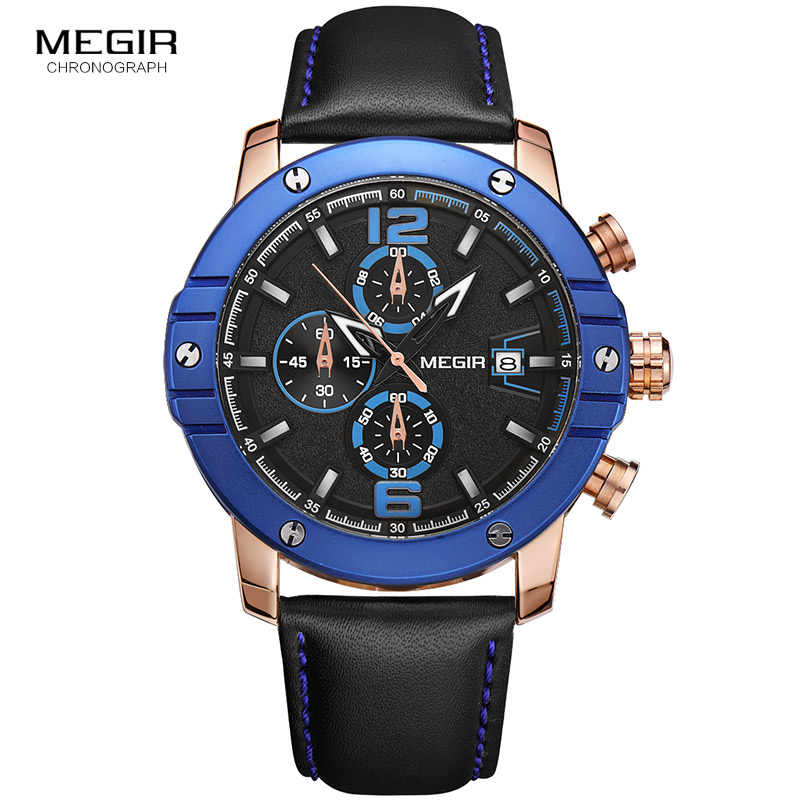 Megir Chronograph Big Round Dial Leather Strap Sport Quartz Watches for Men Fashion Man's Luminous Calendar Wrist Watch 2046G casual leisure sport men s mechanical wrist watch leather strap tourbillon calendar display luminous night light big crown