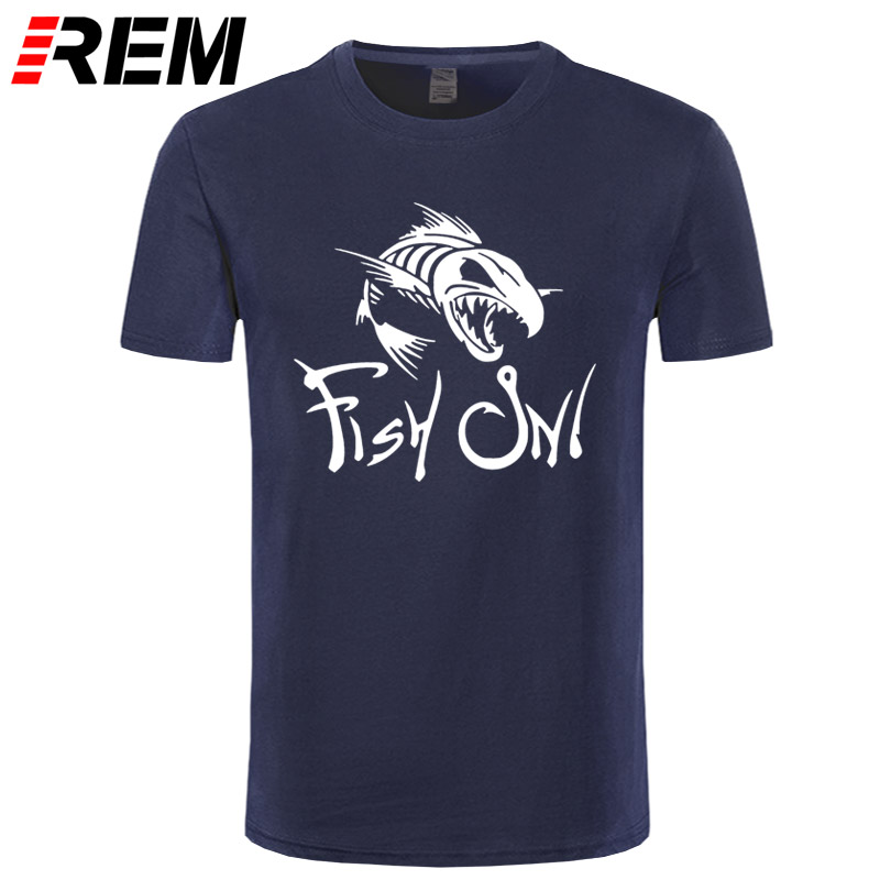 REM Fish On Fashion Printing   T     Shirt   Funny Angry Fishbone Fish   T  -  shirt   Summer New Men's Cotton   T     Shirts   Top Quality Tees