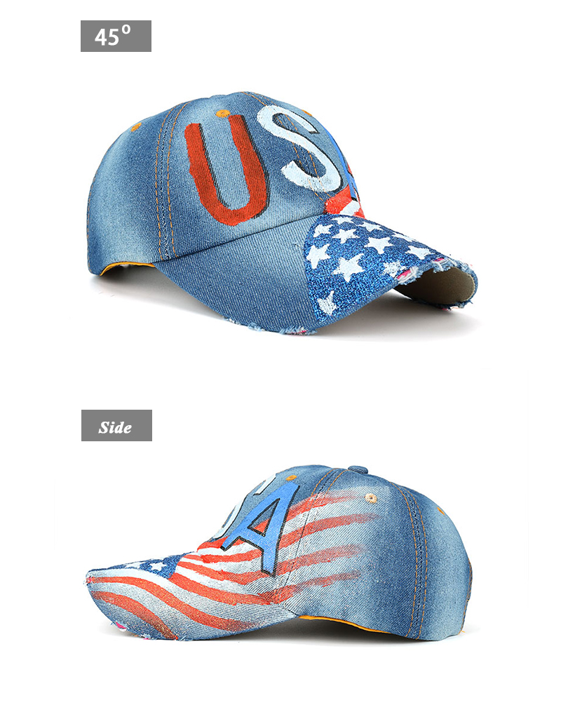 """""""USA"""" Flag Screen Print Dad Hat - Front Angle and Side Views"""
