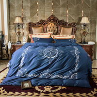 Egyptian Cotton White Blue Luxury Bedding Set Queen King size Double Bed set Embroidery Duvet Cover Bed Sheet set Pillowcase