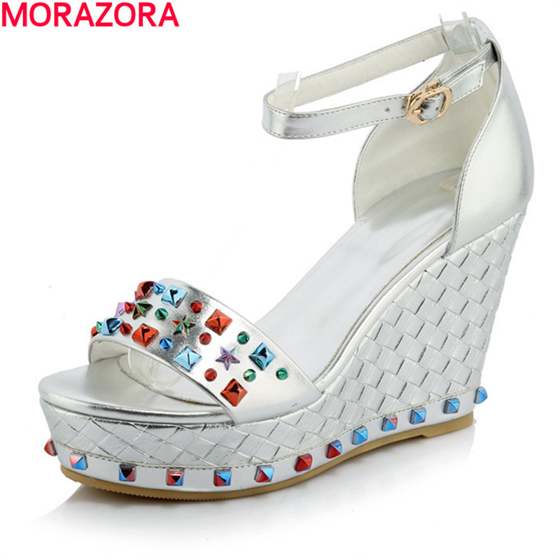 MORAZORA Top quality pu leather shoes woman in summer high heels wedges shoes sandals women shoes party rivets platform women sandals 2017 summer shoes woman flips flops gladiator wedges bohemia fashion rivet platform female ladies casual shoes