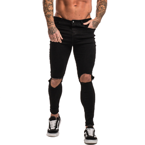 Image 2 - GINGTTO Black Ripped Jeans for Men Stretch Jeans Men Jeans Ankle Tight Dropshipping Supply Big Size Super Spray on zm24