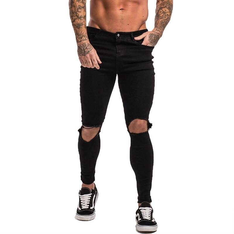 Vente GINGTTO noir déchiré Jeans pour hommes Stretch Jeans hommes Jeans cheville serré livraison directe approvisionnement grande taille Super Spray sur zm24