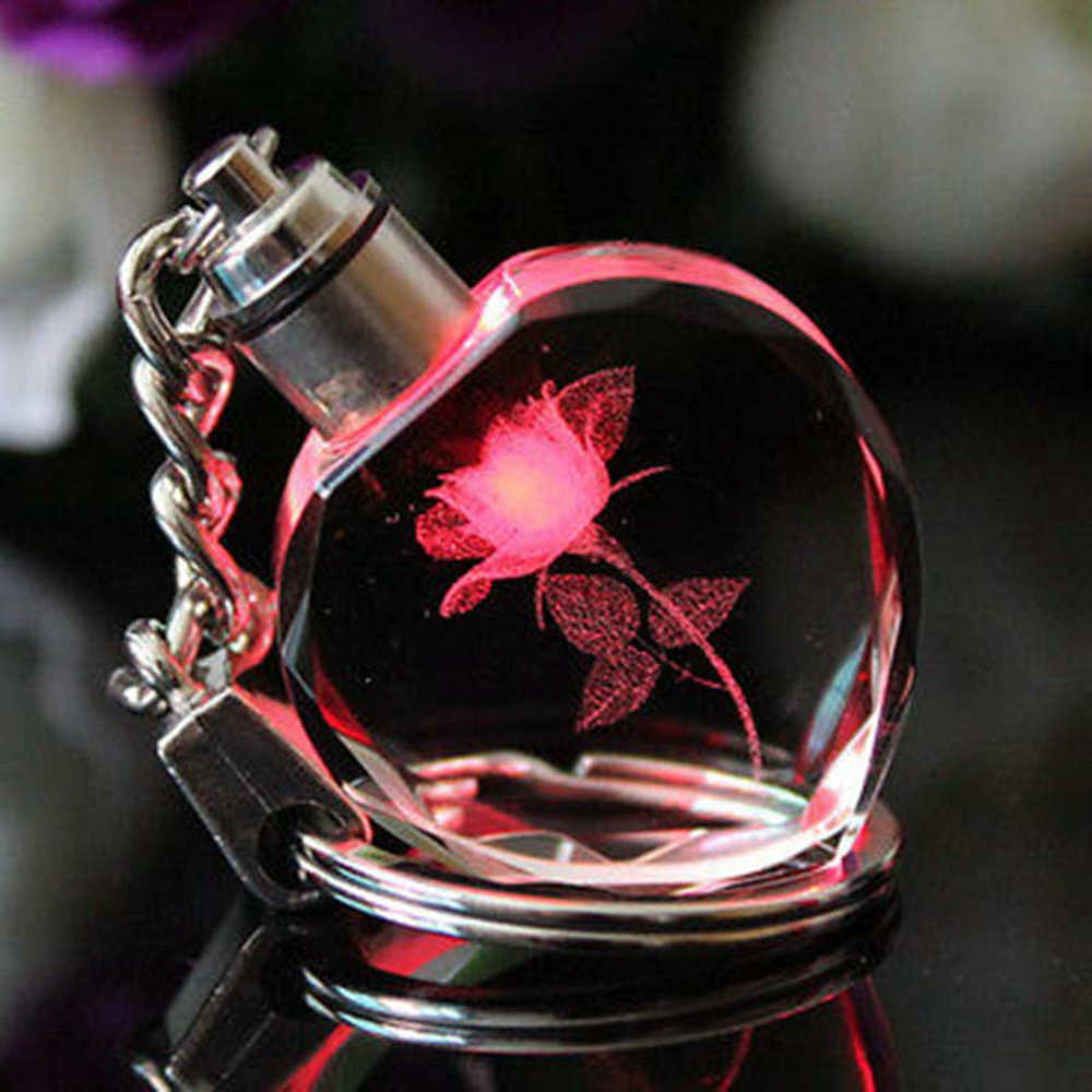 New Fairy Crystal Rose LED Light Keychain Love Heart Key Chain Ring Keyring For Gift