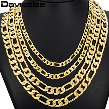 Davieslee Mens Necklace Hip Hop Gold Filled Jewelry Figaro Link Chain Wholesale Dropship DLGNM53