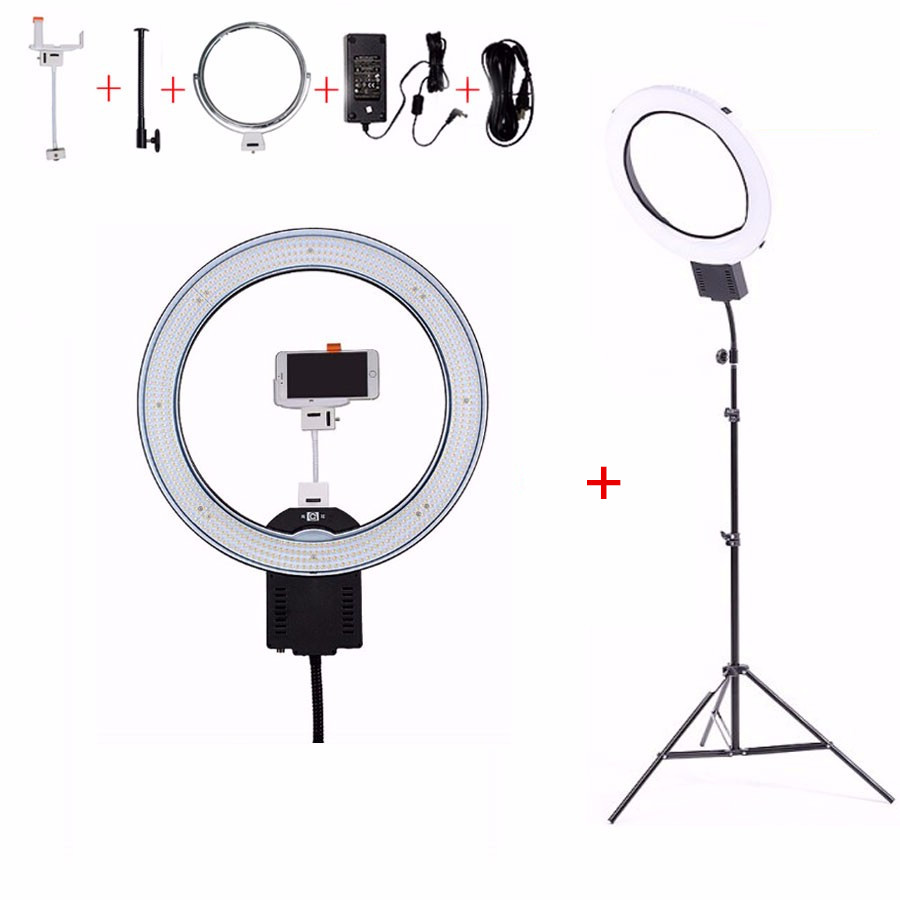 "NanGuang CN-R640 19 ""Foto Video Studio Telefoon Ringvormige Lamp 640 LED Camera Ring Licht Voor Make Fotografie Verlichting Met statief"