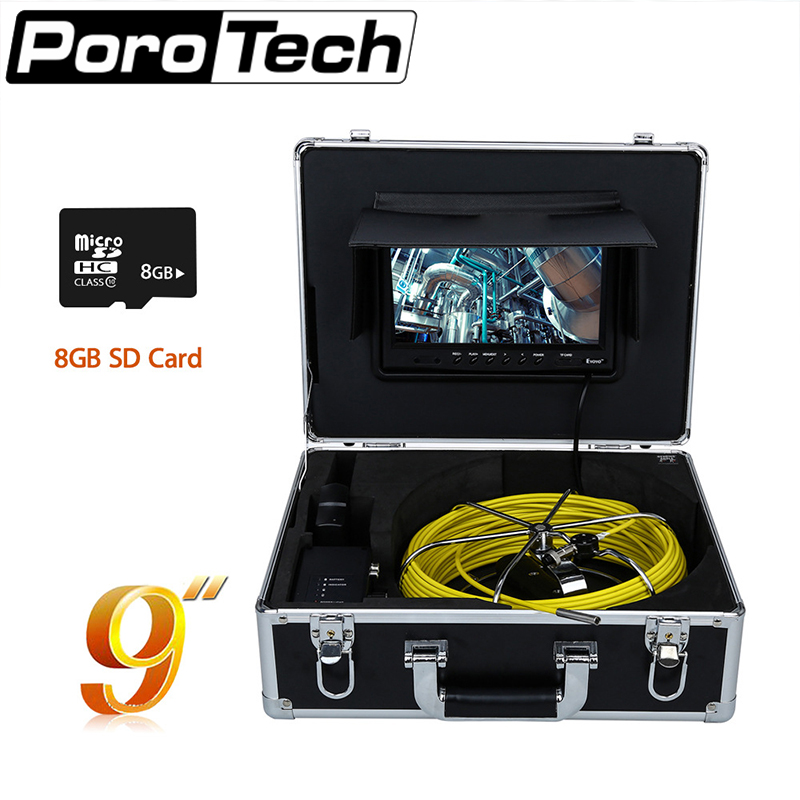 WP90C 30M Pipe Sewer Inspection Camera Waterproof IP68 30m Drain Industrial Endoscope Video Inspection System 9 Inch LCD Monitor цены онлайн