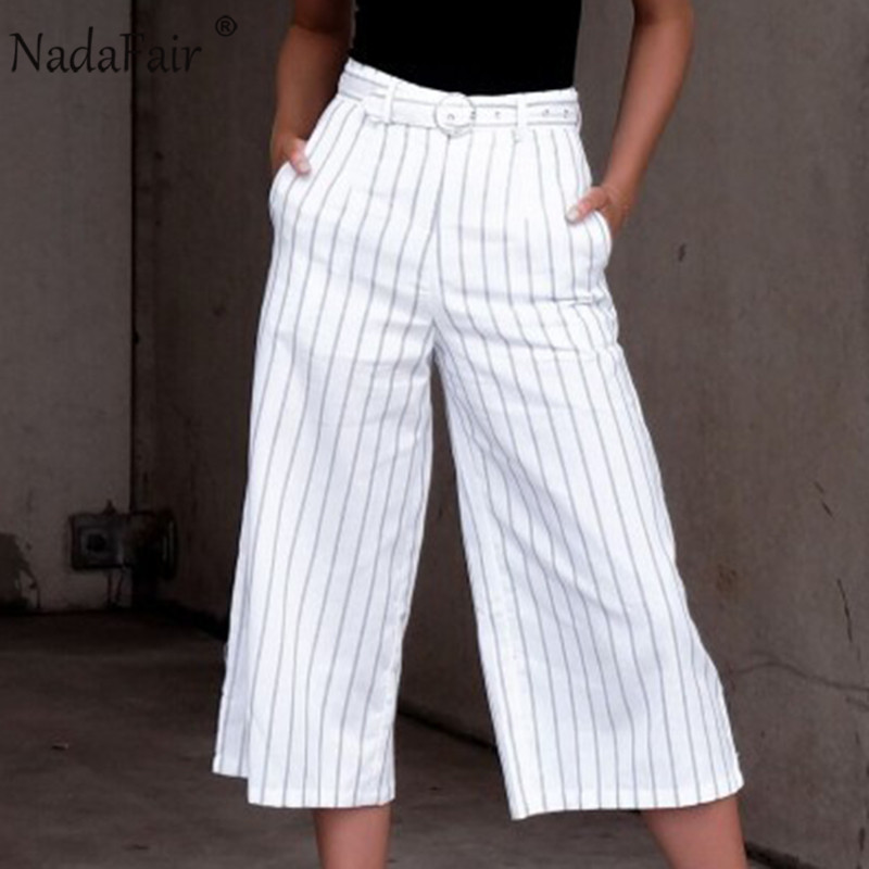 Nadafair elegant women work wear striped pants grommet belt ankle-length loose high waist wide leg pants ol style white