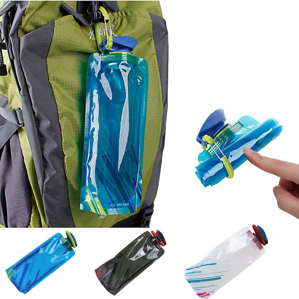 Foldable Drinking Water Bottle Bag Pouch Outdoor Hiking Camping Pe Water Bag Soft Flask Squeeze For Running Cycling Water Bags Campcookingsupplies Water Bags