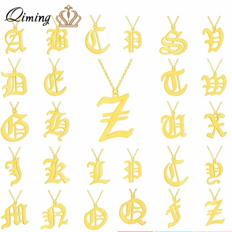 Simple 26 Letters Initial Women's Necklace Custom Name Stainless Steel Girlfriend Ethnic Gold Chain Necklaces Bijoux Femme
