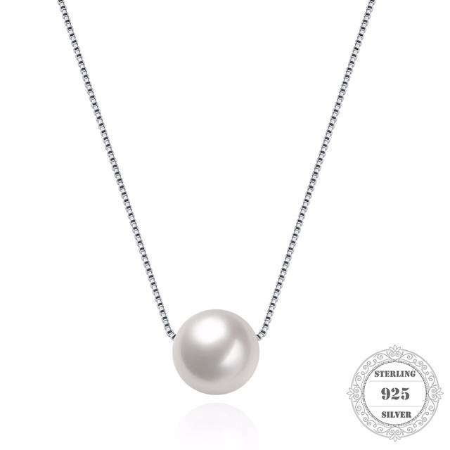 Hemiston 925 Sterling Silver Link Chain Shell Pearl Pendant Necklace for Women E