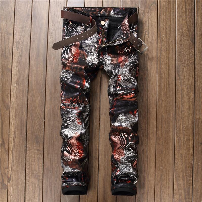2018 fashion design casual pants black printed Men's   jeans   slim straight denim pants nightclub streetwear rock hip hop stylish