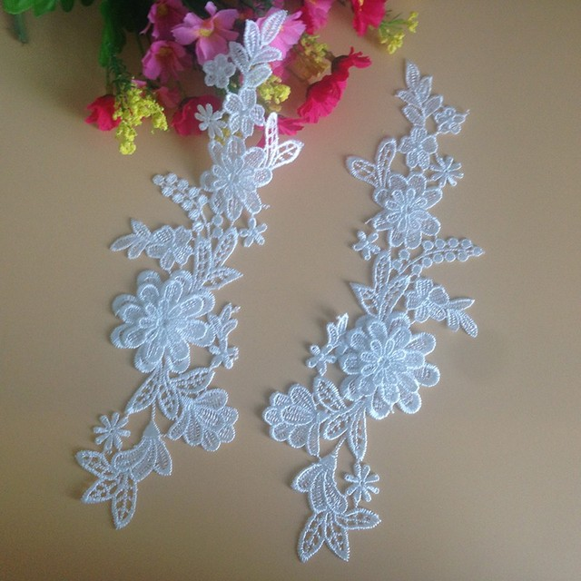10Pieces Flower Embroidery Neckline Lace Applique Trimmings Collar Sewing  DIY Crafts Cord Lace Fabric For Wedding e90e5802e662