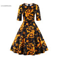 Charmian outono dress plus size da cópia floral do vintage das mulheres winter dress festa casual dress vestidos de audrey hepburn