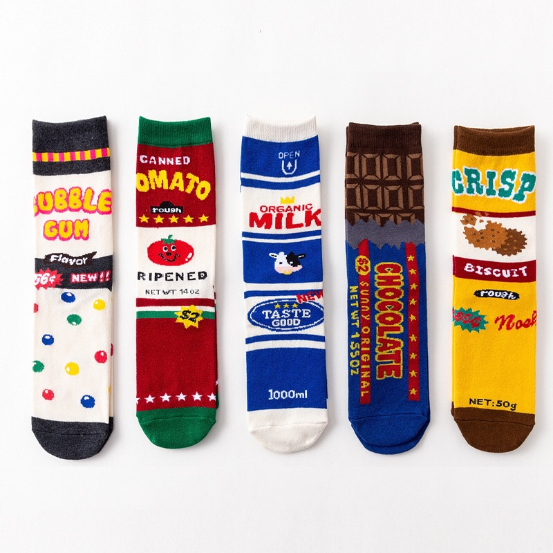 Women Art Daily Harajuku Korea Japanese Cotton Cartoon Cute Chocolate Cow Print Female Male Creative Happy Funny   Socks