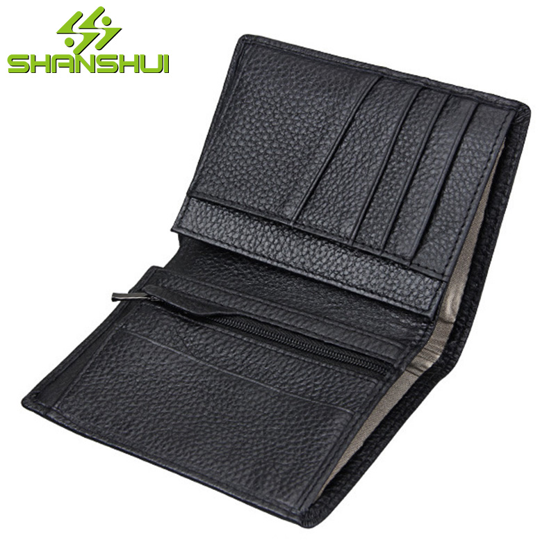 Genuine Leather Men Small Short Black Purse Wallet Business Travel Credit Card Holder RFID Solid Male Coin Purses Slim Wallets male brief short design wallets credit card holder men purse