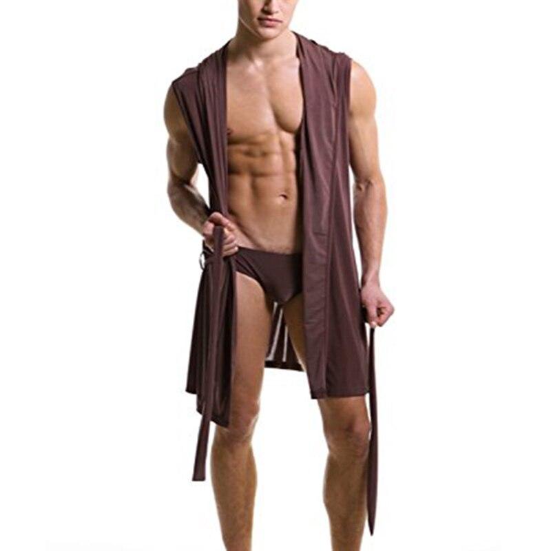 Lacontrire Sommer Männer Ultradünne Eis Seide Sexy Nachthemd Bequem Machen, Nahtlose Robe Mit Hut Und Hosen Kleidung Hause Anzüge Hell Und Durchscheinend Im Aussehen