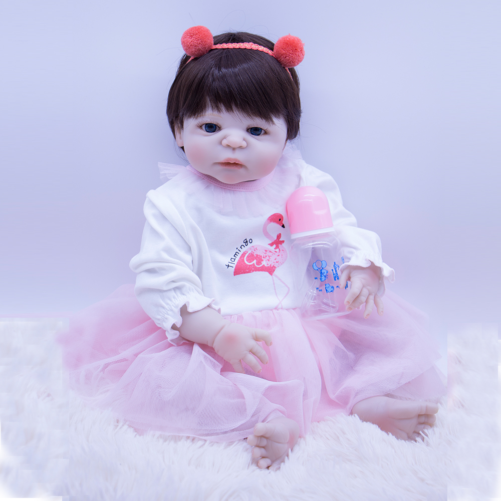 Reborn Doll White skin Silicone Bebe Reborn girl Doll 57cm soft hair Boneca beautiful Baby Dolls For Girls playmate toy DOLLMAIReborn Doll White skin Silicone Bebe Reborn girl Doll 57cm soft hair Boneca beautiful Baby Dolls For Girls playmate toy DOLLMAI
