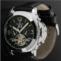 FORSINING Leather Band Men Watches 2016 Big Case Fashion Casual Clock Men Mechanical Tourbillon Wristwatch Luminous Watch