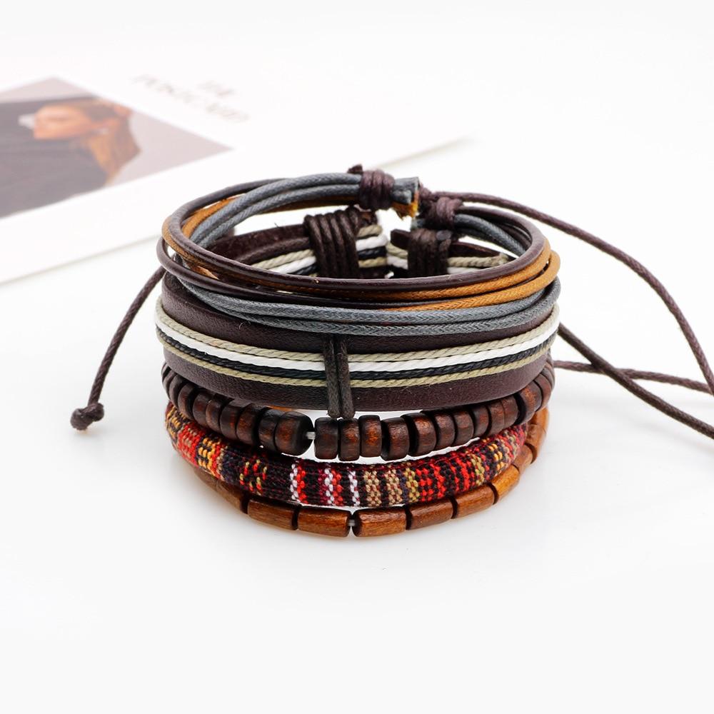 345pcs/set Gypsy Hippie Punk Tibetan Light Dark Brown Wood Beads Wrap Leather Cord Layers Stackable Bracelets Bangle Set for Man