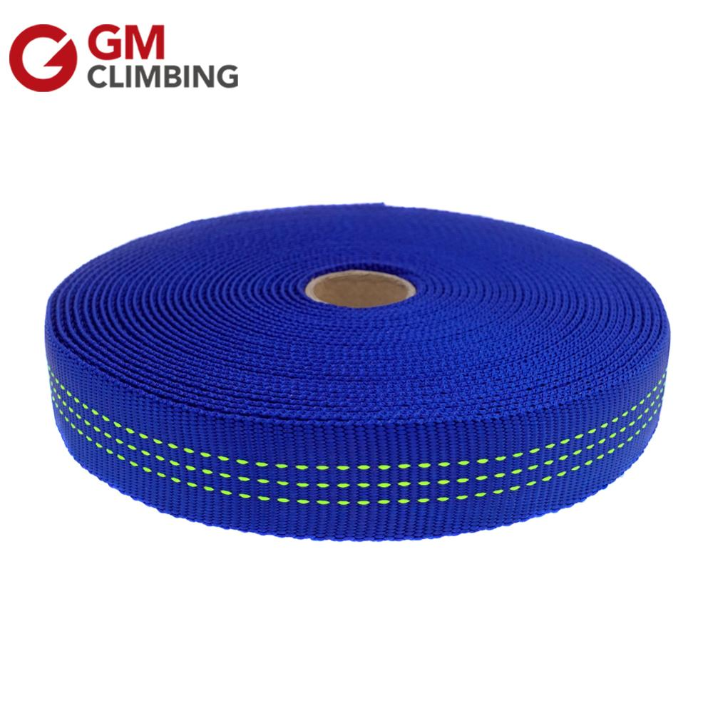 GM CLIMBING 30ft Blue Nylon Tubular Webbing 25mm Climbing Sling Outdoor Strap Belt For Rigging Anchoring Camping Gear Repair