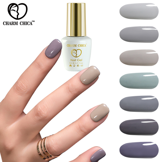 Charm Chica Uv Gel Nail Polish 6ml Dark Gray Series Colors Soak Off Lacquer