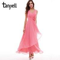 Tanpell V Neck Evening Dress Cheap Pink Floor Length Sleeveless Dress Burgundy Flowers Pleats Formal Party