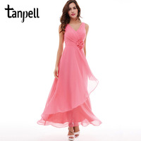 Tanpell V Neck Evening Dress Cheap Pink Floor Length Sleeveless Dress Burgundy Flowers Pleats Formal Party