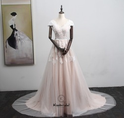 Robe de mariee Neue Rosa Hochzeit Kleid 2018 V-ausschnitt Cap Sleeve A-linie Appliques Tüll Backless Brautkleider Vestido de casamento