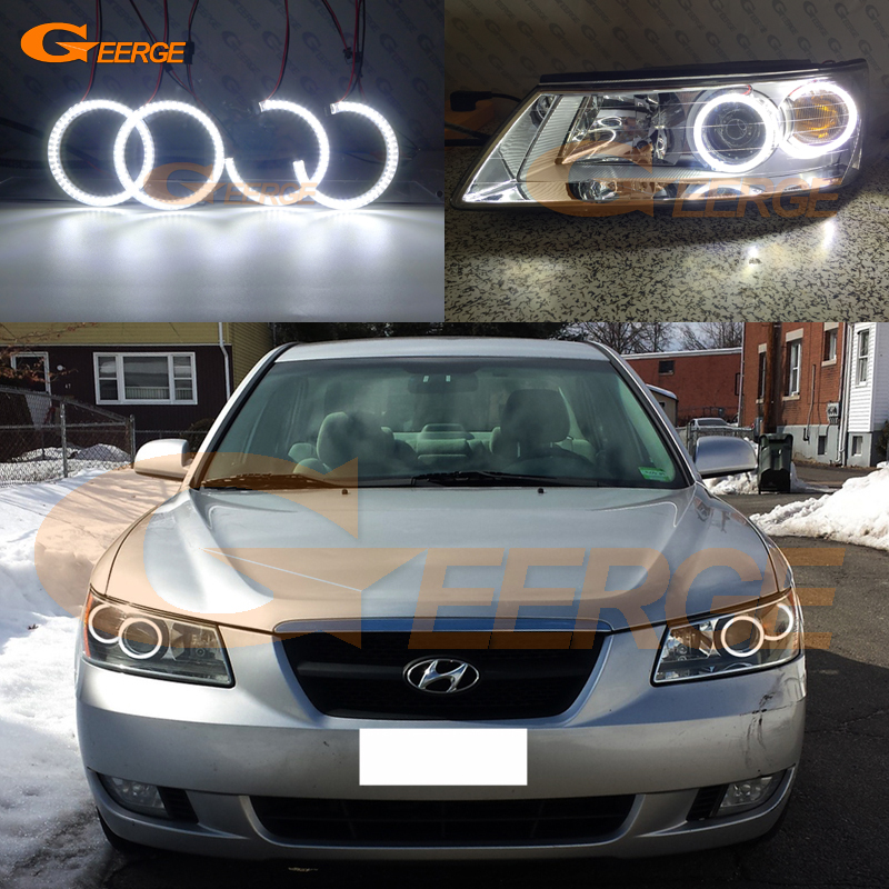 For Hyundai Sonata 2006 2007 2008 headlight Excellent Ultra bright illumination smd led Angel Eyes kit Halo Rings for alfa romeo 147 2005 2006 2007 2008 2009 2010 headlight ultra bright illumination cob led angel eyes kit halo rings