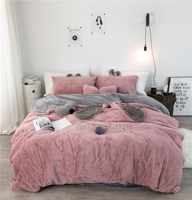 White Grey Pink Fleece Fabric Duvet Cover Pillowcase Bed Sheet