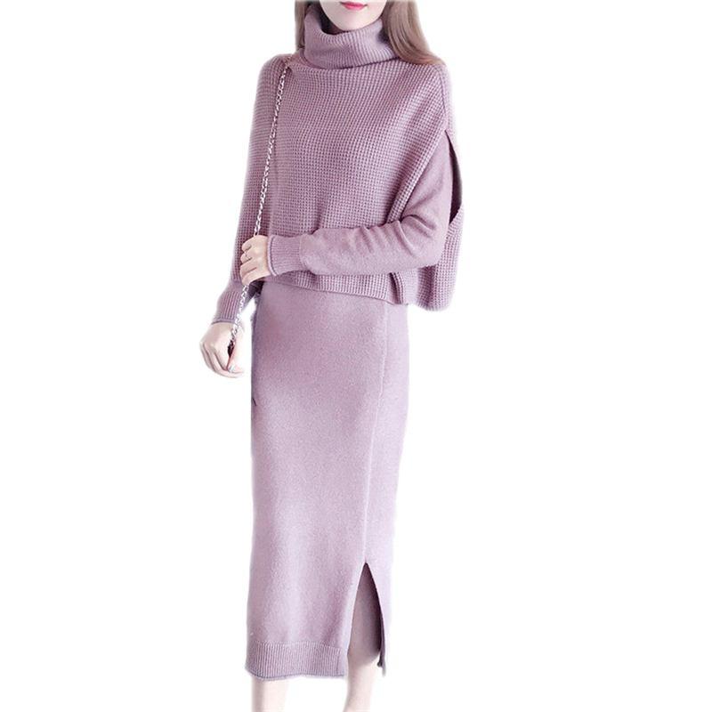 Autumn Winter Women Loose Fashion Cape Two Piece Suit Female Cloak Turtleneck Elegant Long Sleeve Knit Dress Sweater 2 Piece D41
