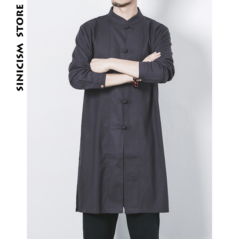 Sinicism Store Man Chinese Style   Trench   Coat 2018 Men Solid Long Overcoat Outwear Mens Cotton Casual Autumn Winter Windbreaker