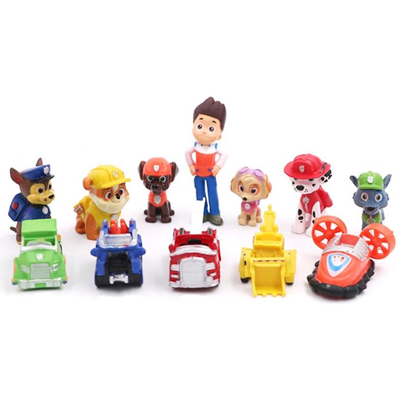 12pcs/set Paw Patrol Rescue Dog Figure Dolls Set Toys PVC Sliding Select Figure Anime Action Model Child Birthday Gift