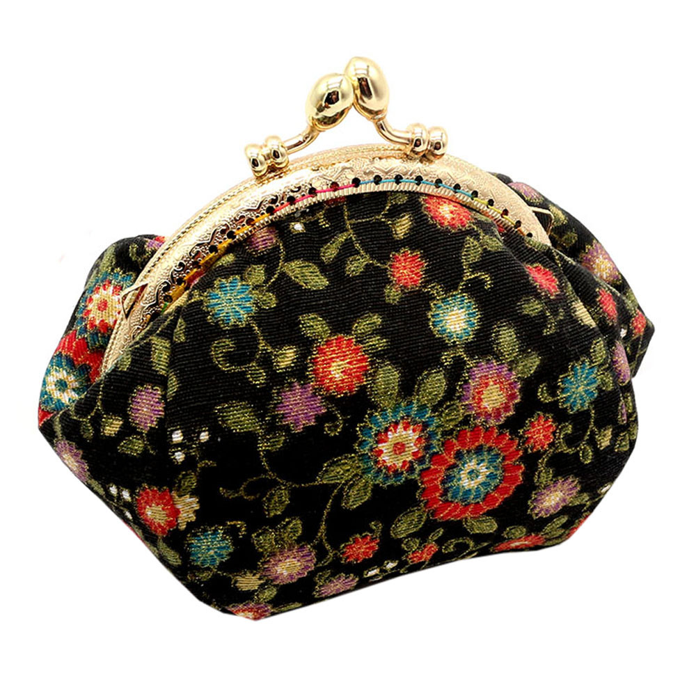 Coin Purse Women Small Wallet Bag Kids Money Pouch Lady Retro Vintage Flower Printing Hasp Purse Clutch Bags Girls