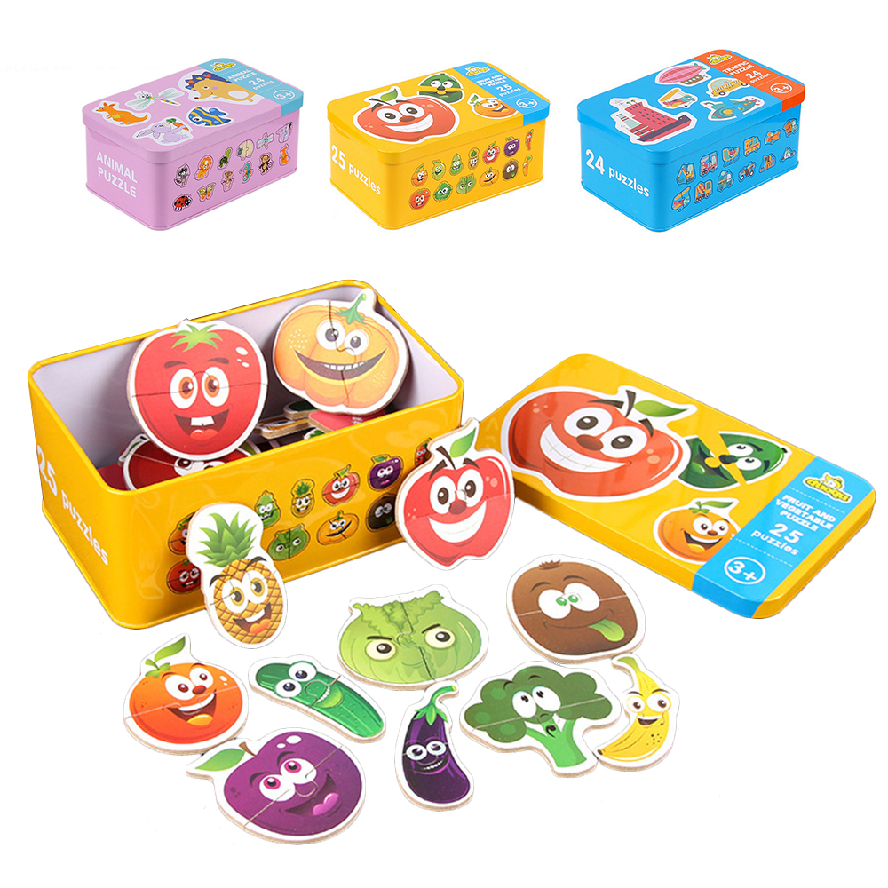 Baby Pairing Puzzle Learning Card Early Education Cartoon Toys Puzzles For Kids Wooden Animals/Fruits/Cars Toys Children Gifts