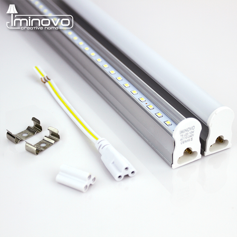 IMINOVO LED Tube T5 Integrated Light AC110V 220V LED Fluorescent 60CM/2FT 10W Milky Cover Cold/Warm White Tube Bulb With Switch 4 pack free shipping t5 integrated led tube 4ft 20w milky transparent cover surface mounted bulb comes with accessory 85 277v