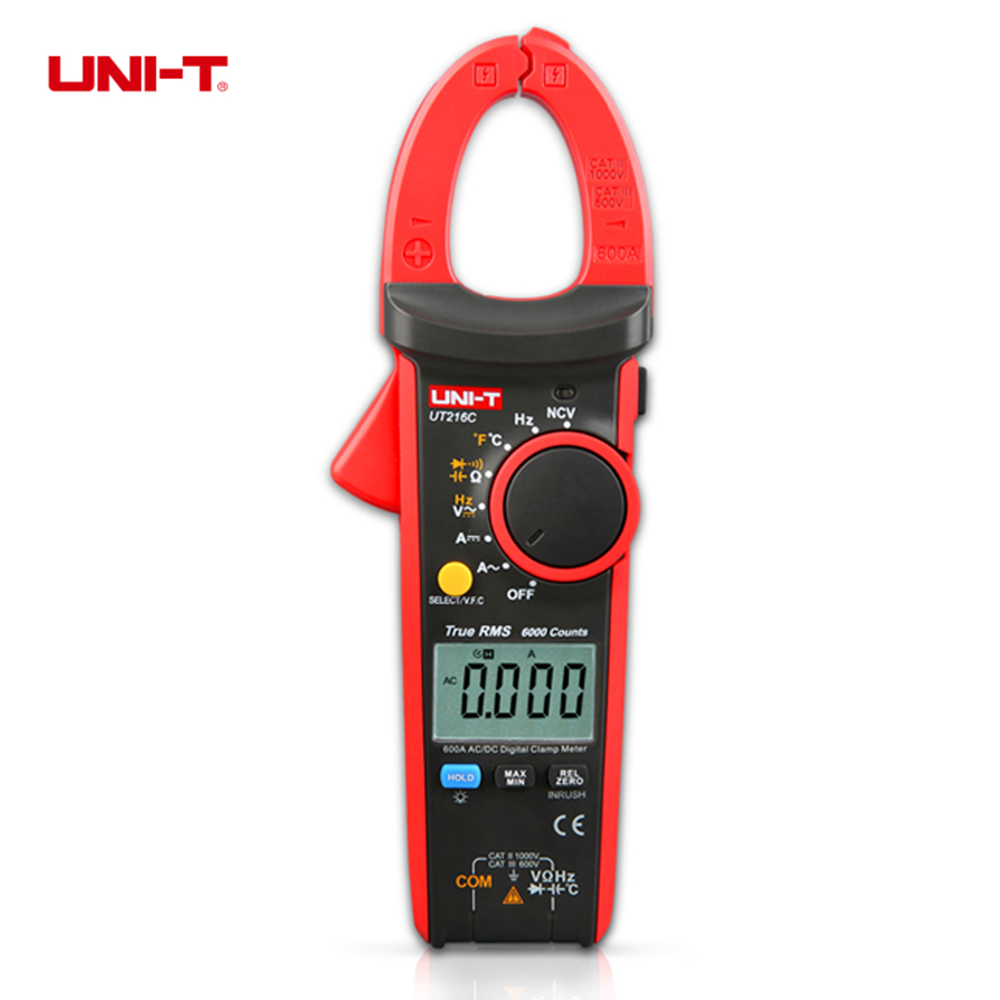 UNI-T UT216C 600A True RMS Digital Clamp Meters Auto Range w/Frequency Capacitance Temperature NCV Test 1 pcs mastech ms8269 digital auto ranging multimeter dmm test capacitance frequency worldwide store