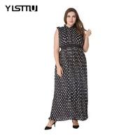 YISTTU Black Plus Size Maxi Chiffon Dress Women Polka Dots Turtle Neck Sleeveless A Line Empire