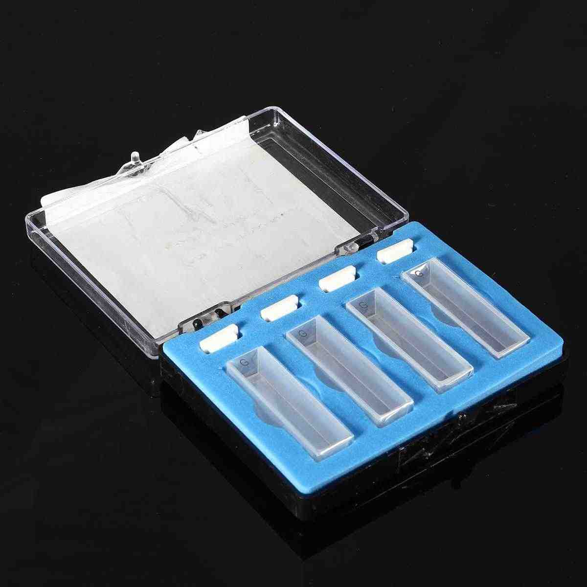 4 unids/set 10mm 3,5 ml espectrofotómetro de cuarzo estándar para la escuela de laboratorio espectrofotómetro de cuarzo Cuvette con caja