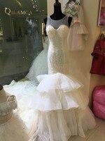 QILAMCA Mermaid Wedding Dress New Scoop Luxury Crystal Beading Cap Sleeve Bride Dress robe de marriage