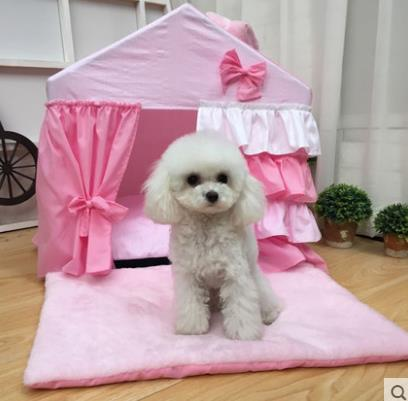 Pet supplies new fashion Korean pet dog bed portable house foldable house lace pet bed princess dog bed washable dog house in Houses Kennels Pens from Home Garden