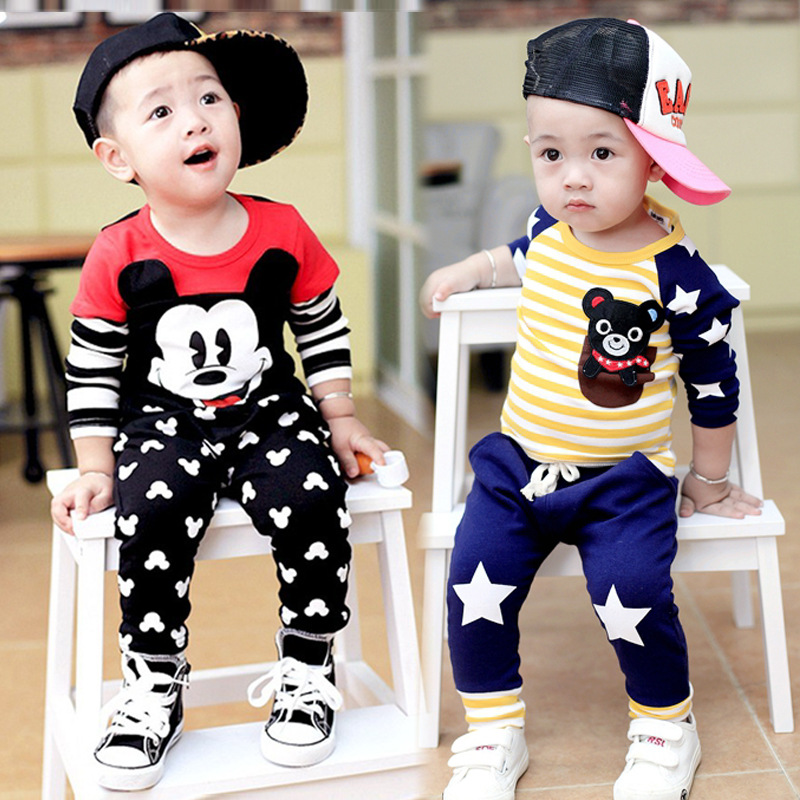 Mickey Minnie Newborn Baby Boy Girl Clothes Short Sleeve Cotton T-shirt Tops+printed Pants Outfit Toddler Kids Clothing Set summer 2017 newborn baby boy clothes short sleeve cotton t shirt tops geometric pant 2pcs outfit toddler baby girl clothing set