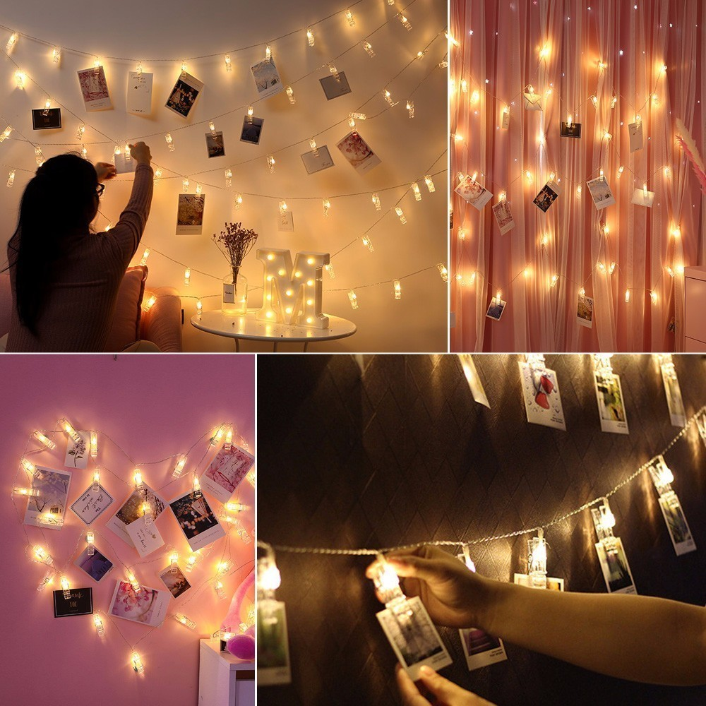 1.5M Card Photo Clip String Lights 10 LED Garlands Battery Operated Birthday Party Decor Lamp Decorative Clamp Light Strings